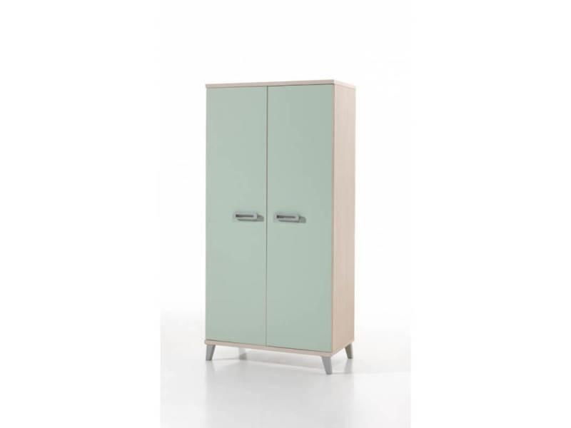 armoire enfant contemporaine 2 portes frene vert verone