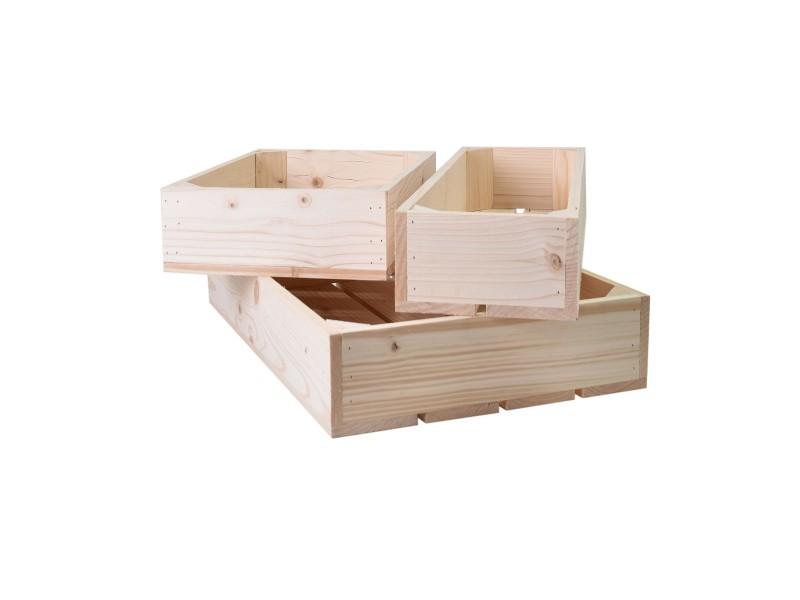 lot de 3 caisses de rangement en bois profondeur 10 cm