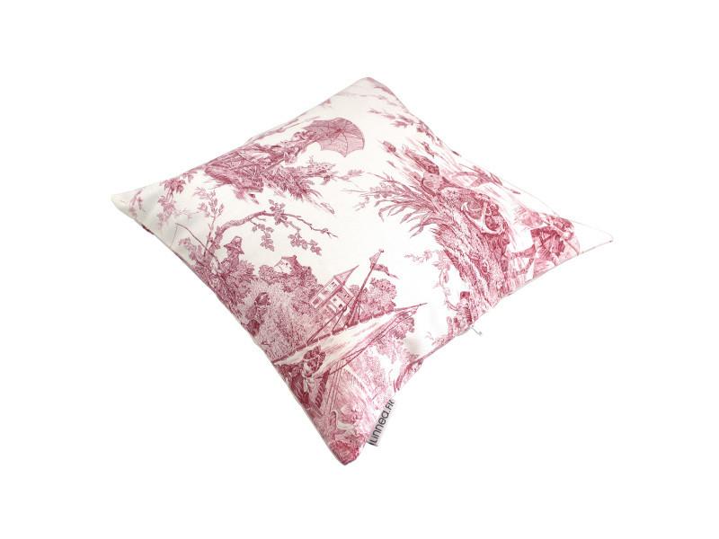 housse de coussin 45x45 cm lovolo voilier rose 100 coton