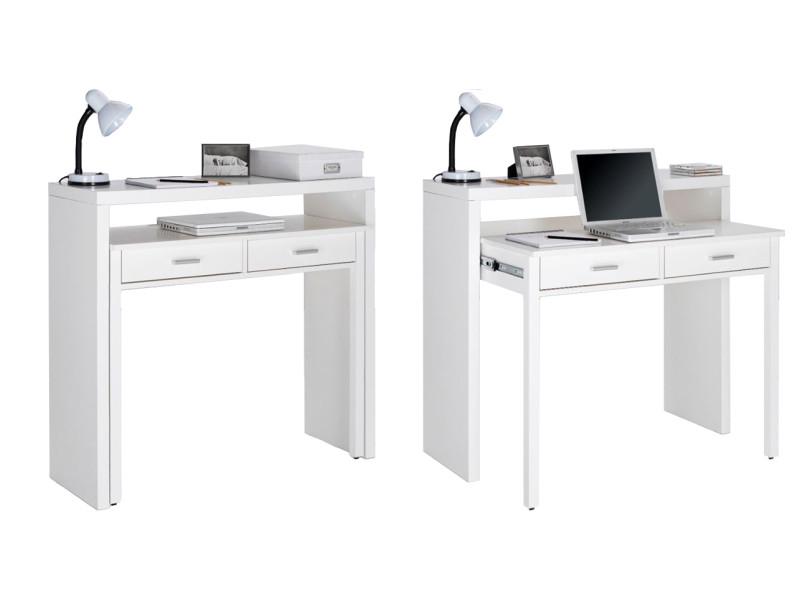 Bureau Extensible Table Pour Ordinateur 2 Tiroirs Blanc Brillant Comfort Vente De Skraut Home Conforama