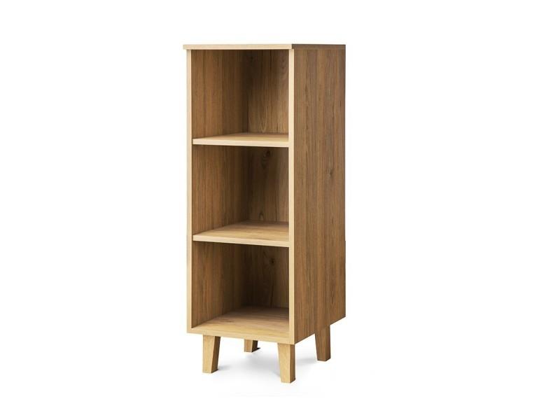 frili bibliotheque style scandinave salon chambre 40x117x46cm pieds en bois massif 2 etageres meuble de rangement chene