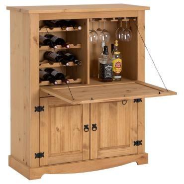 Meuble Bar A Vin Tequila Armoire Comptoir Avec Range Bouteilles Et Range Verres Bahut De Style Mexicain En Pin Massif Teinte Cire Vente De Idimex Conforama