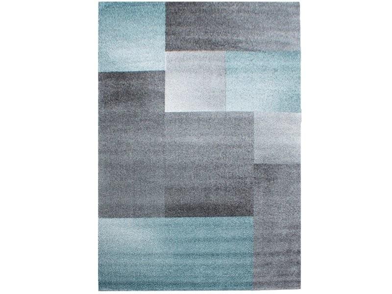 tapis geometrique a carres 80x150cm bleu gris