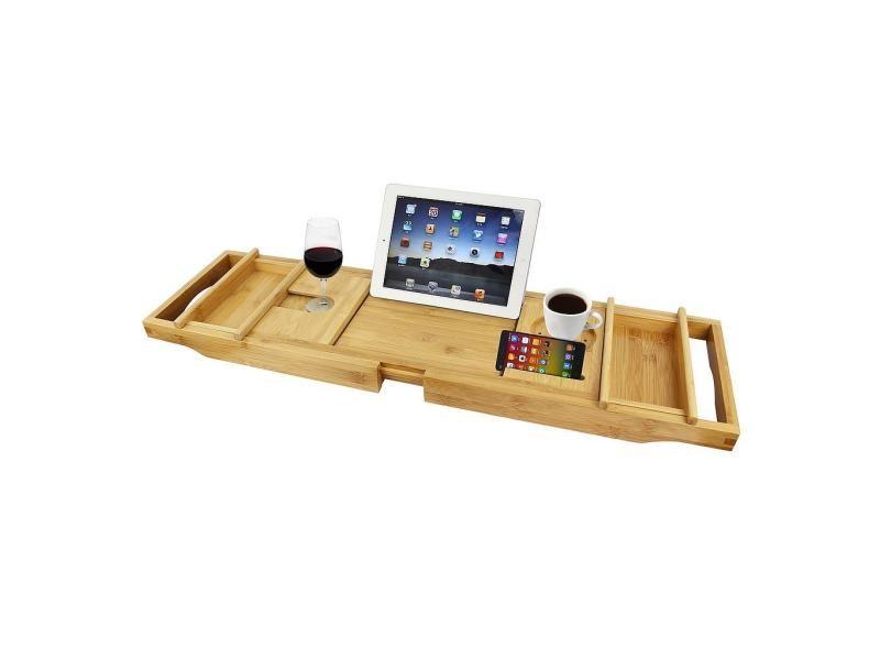 plateau de baignoire etagere a baignoire en bois avec 2 supports amovibles et porte savon tissu gris materiau bambou