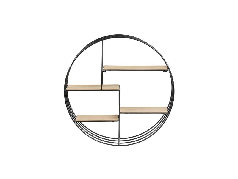 etagere murale design ronde bois et metal enso
