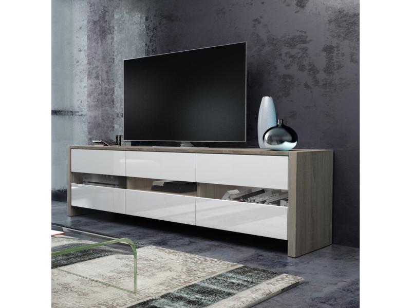 meuble tv inchel 139 cm effet chene blanc brillant sans led