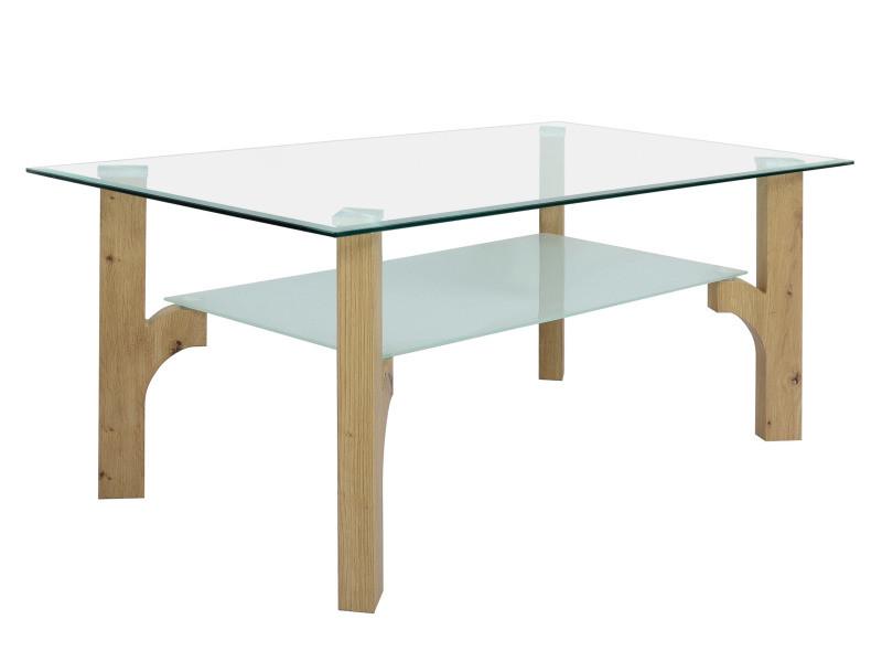table basse plateau verre foresto imitation chene artisan