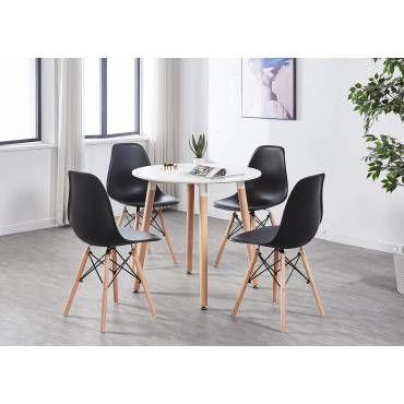 table a manger ronde blanche 4 chaises scandinaves noires salle a manger cuisine u29685804