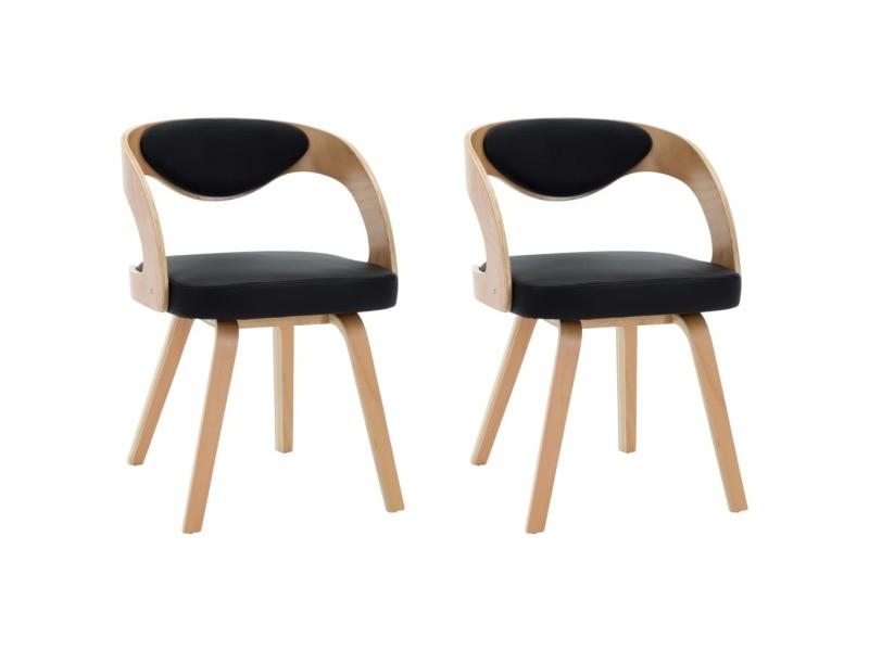 icaverne chaises de cuisine famille chaises de salle a manger 2 pcs noir bois courbe et similicuir