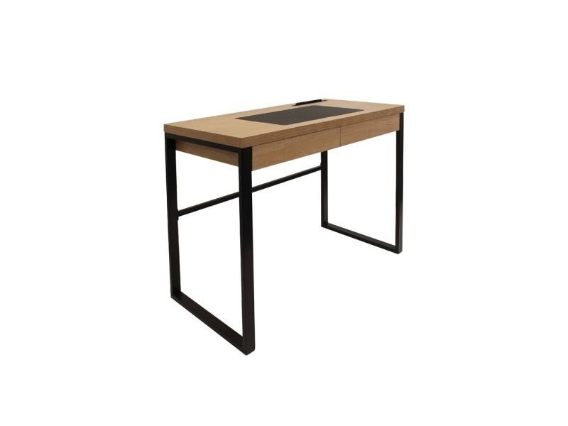 bureau en bois et metal