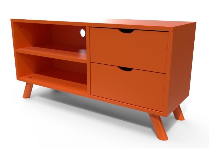 meuble tv scandinave viking bois orange