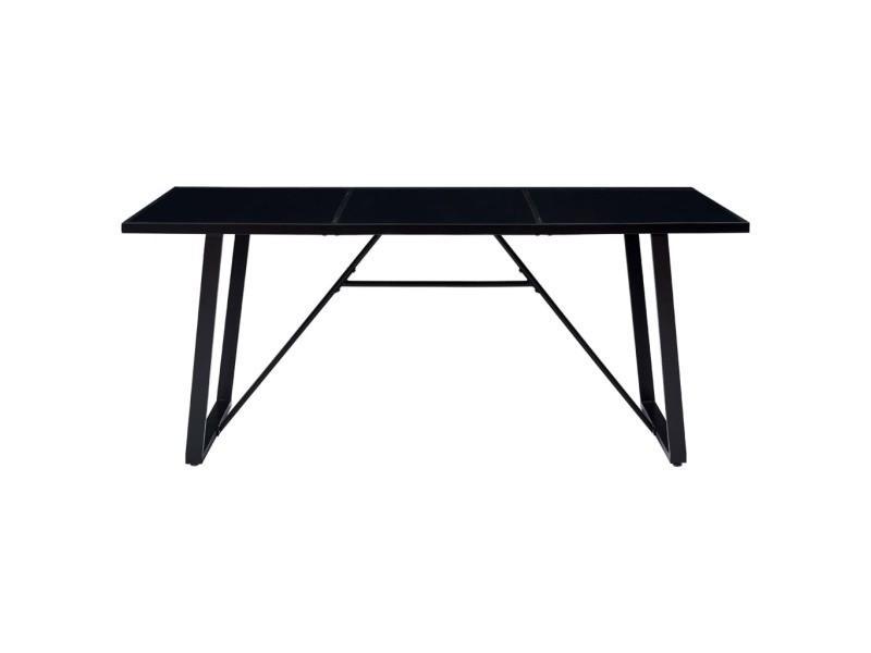 icaverne tables a manger gamme table de salle a manger noir 180x90x75 cm verre trempe