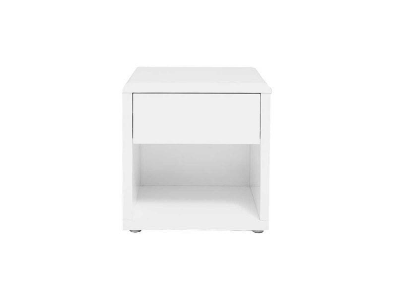table de chevet design laquee blanche elio
