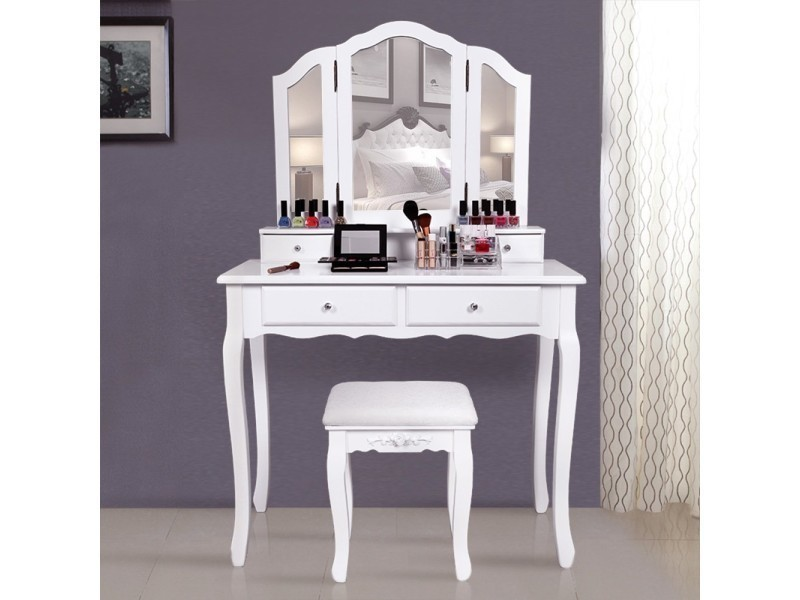 superbe grande coiffeuse blanche avec tabouret 4 tiroirs et 3 miroirs neuf sgrdt07w vente de rocambolesk conforama
