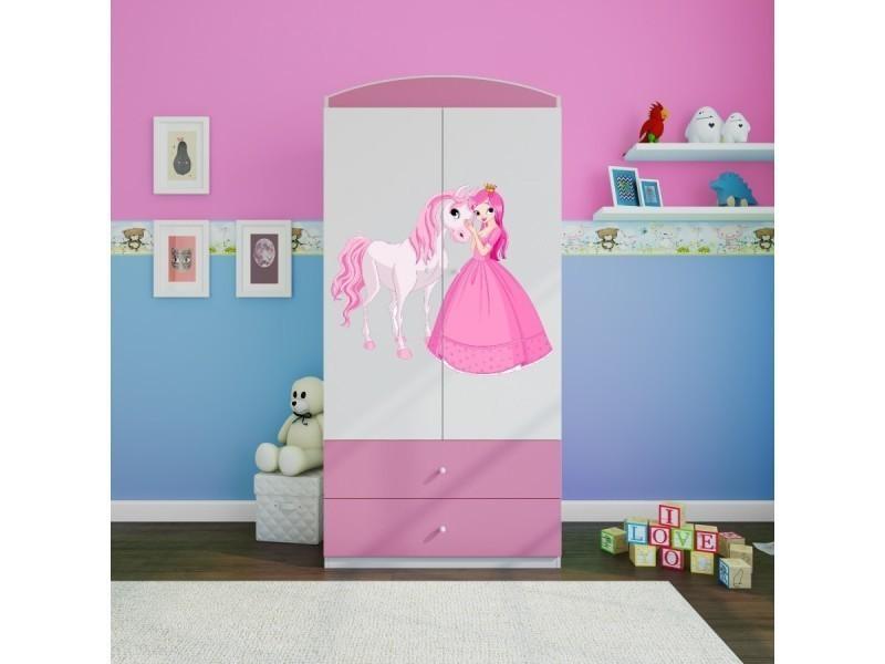 armoire enfant princesse et son cheval 2 tiroirs de rangement rose