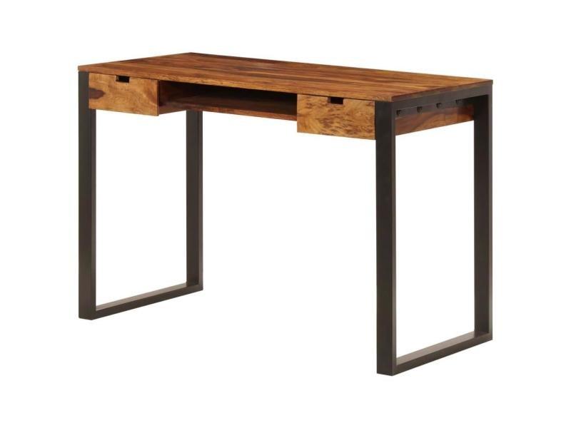Bureau Table Meuble Travail Informatique 110 Cm Bois Solide Et Acier Helloshop26 0502086 Vente De Helloshop 26 Conforama
