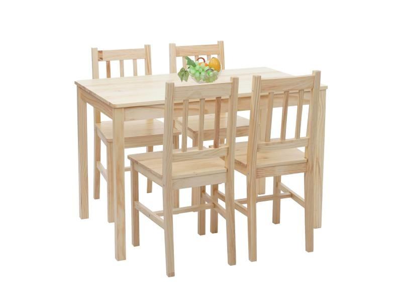 ensemble de salle a manger hwc f77 salon style rustique bois massif 110 cm bois de pin finition lasure