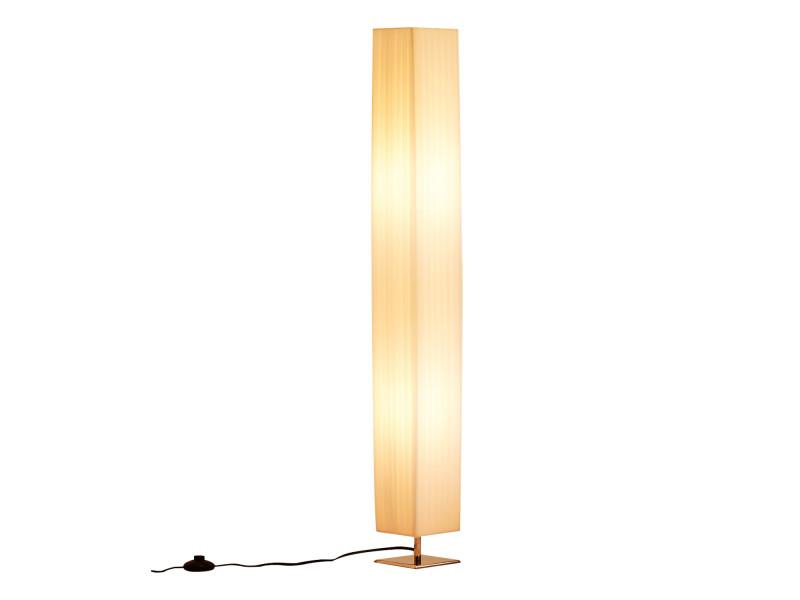 Lampe Lampadaire Colonne Sur Pied Moderne Lumiere Tamisee 40 W 14l X 14l X 120h Cm Inox Blanc Vente De Homcom Conforama