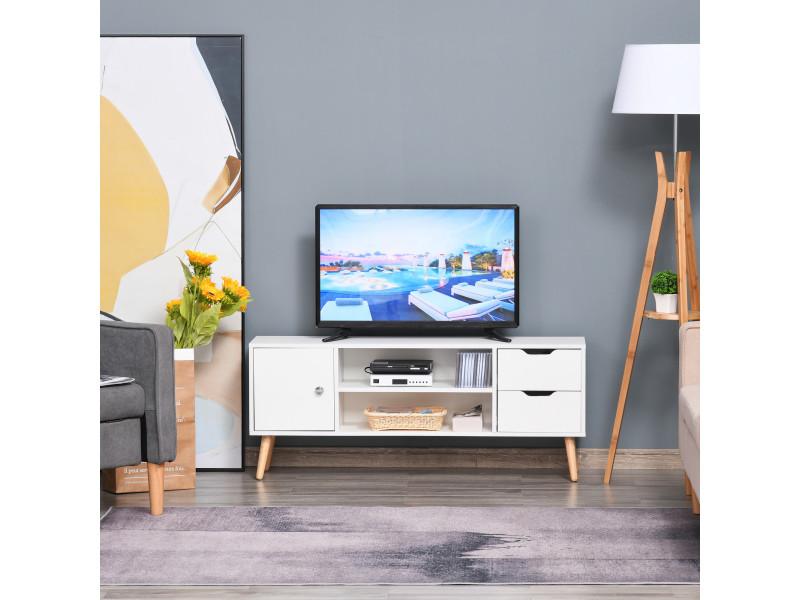 meuble tv banc tv style scandinave placard 2 niches 2 tiroirs passe fils panneaux particules blanc bois pin