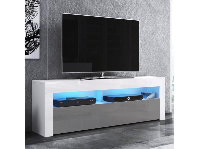 meuble tv alan 140 cm blanc mat gris brillant avec led