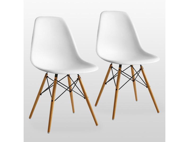 lot de 2 chaises scandinaves blanches style eiffel