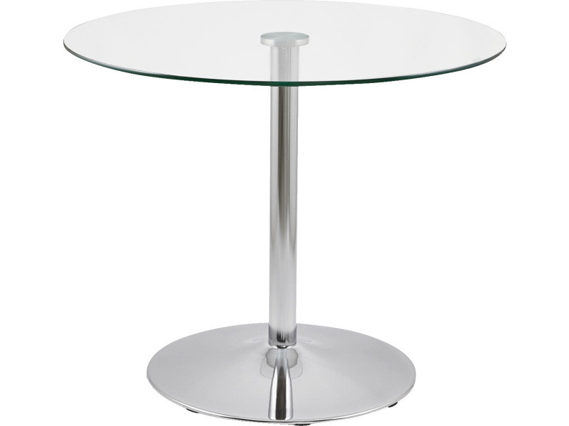 table a diner en verre trempe transparent diam 90 x 90 x 74 cm pegane
