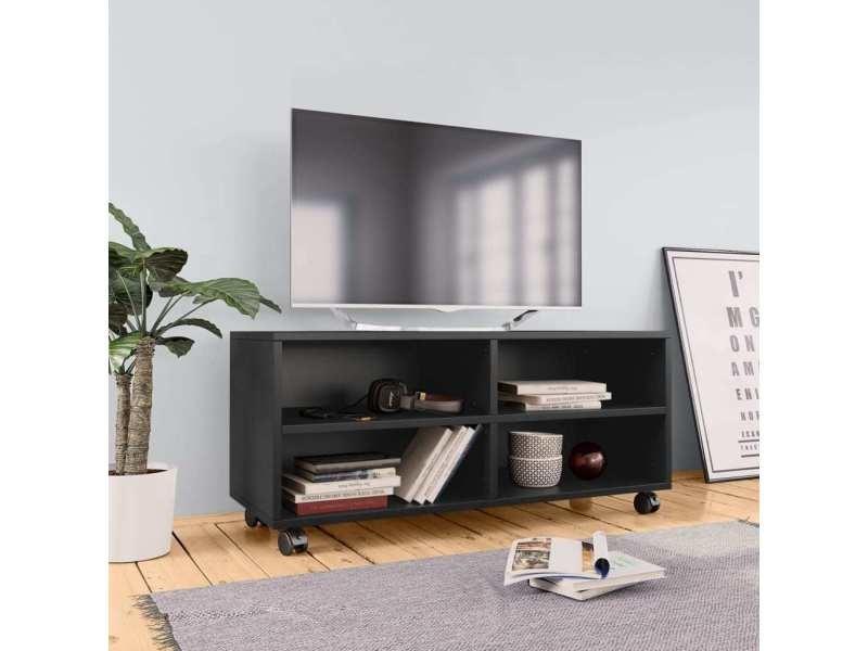 chic meubles ensemble monrovia meuble tv avec roulettes noir 90 x 35 x 35 cm agglomere