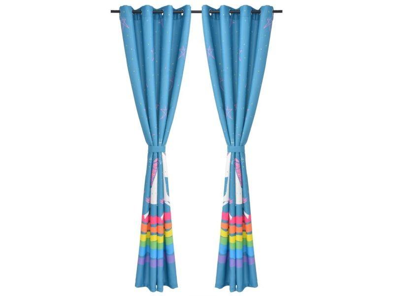 icaverne rideaux ligne rideau occultant imprime pour enfants 2 pcs 140 x 240 cm bleu
