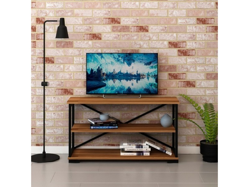 homemania meuble tv nuovo industriel avec etagere pour le salon noyer noir en bois metal 100 x 30 x 55 cm