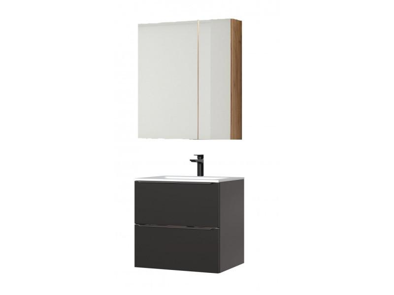 Ensemble Meuble Vasque Cabinet Miroir Noir 60 Cm Capri Black Vente De Vasque Et Lavabo Conforama