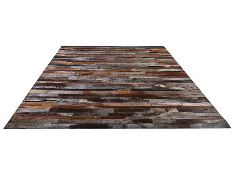 tapis patchwork en cuir veritable 200 x 300 cm