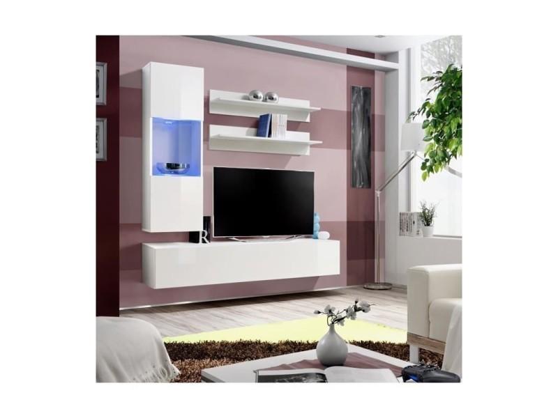 ensemble meuble tv mural fly iii 160 cm x 170 cm x 40 cm blanc
