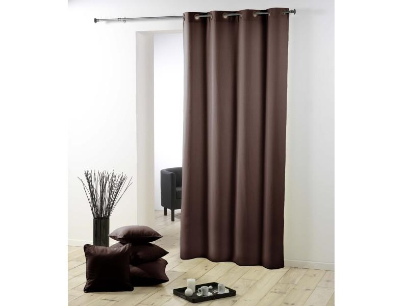 cdaffaires rideau pas cher 140 x 260 cm polyester uni essentiel polyester uni essentiel marron chocolat 1600531 chocolat