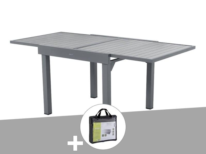 table extensible carree alu piazza 4 8 places gris basalte avec housse de protection hesperide