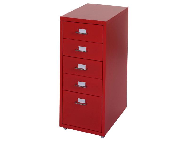 caisson a roulettes boston t851 placard a tiroirs en acier 69x28x44cm 5 tiroirs rouge vente de bureau a composer conforama
