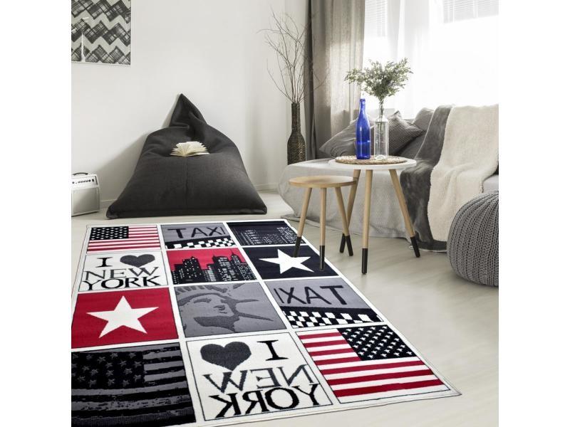 tapis enfant 235x320 cm rectangulaire bc new york usa noir chambre adapte au chauffage par le sol