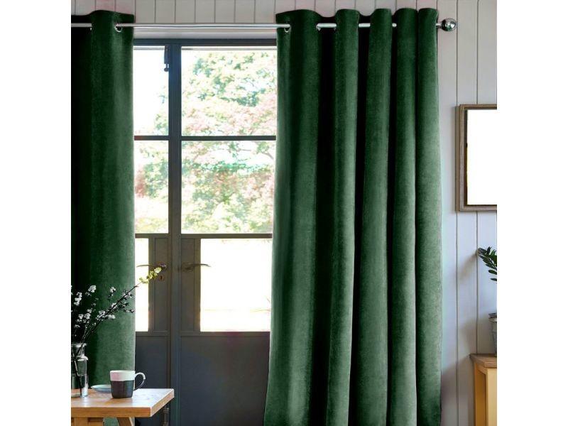 rideau velours 100 polyester vert fonce 140x250 cm