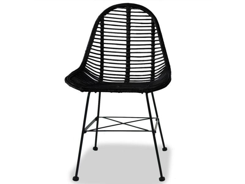 vidaxl chaises de salle a manger 4 pcs noir rotin naturel