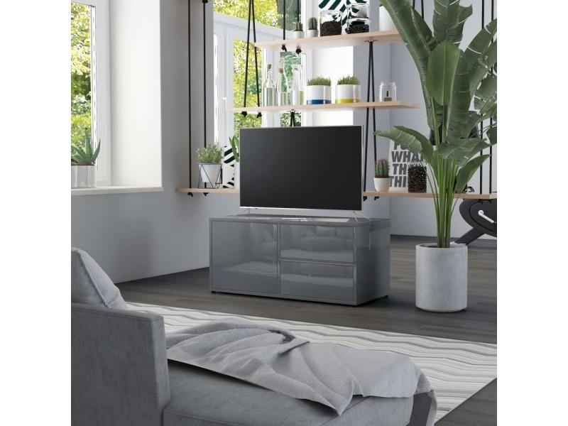 contemporain meubles edition lome meuble tv gris brillant 80x34x36 cm agglomere