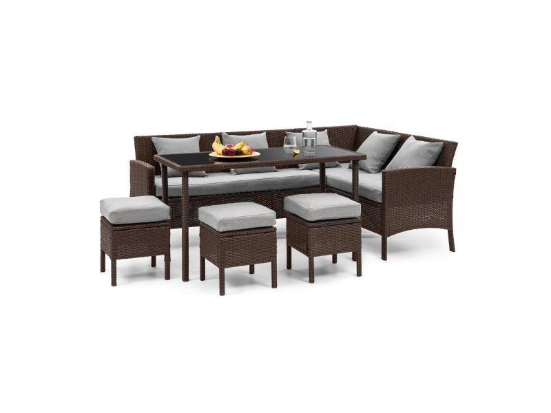 blumfeldt titania lounge salon de jardin complet polyrotin marron gris clair
