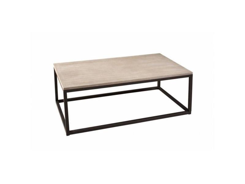 table basse industrielle rectangulaire 115 x 65 cm lea en bois de paulownia et en metal