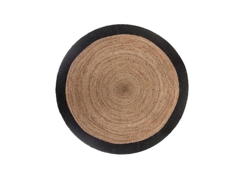 tapis rond en jute naturel et noir diametre 120 cm pegane