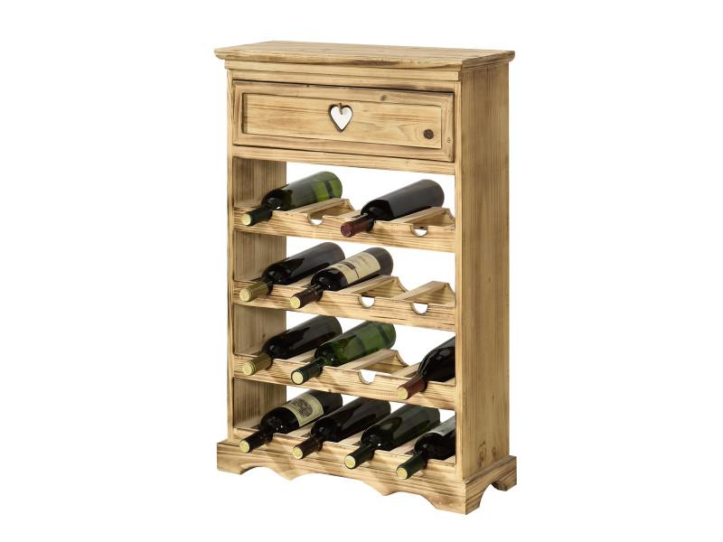 casier a bouteilles style range bouteille etagere avec tiroir emplacements pour 16 bouteilles de vin bois de pin 86 x 55 x 22 cm naturel en casa
