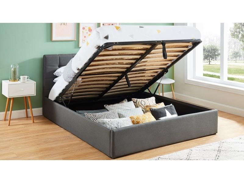 lit coffre 140x190 gris fonce avec tete de lit sommier a lattes relevable collection tommy