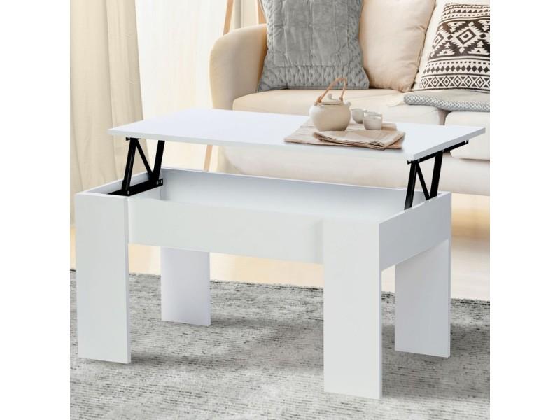 table basse plateau relevable tara bois blanc