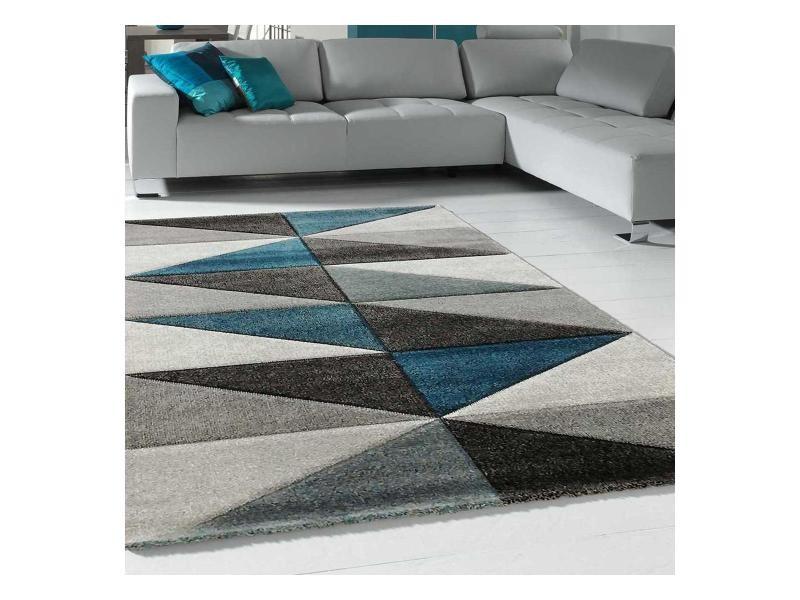 tapis design et moderne 140x200 cm rectangulaire valag bleu salon adapte au chauffage par le sol
