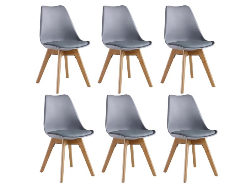 lot de 6 chaises scandinaves grises lorenzo assise rembourree salle a manger cuisine ou bureau