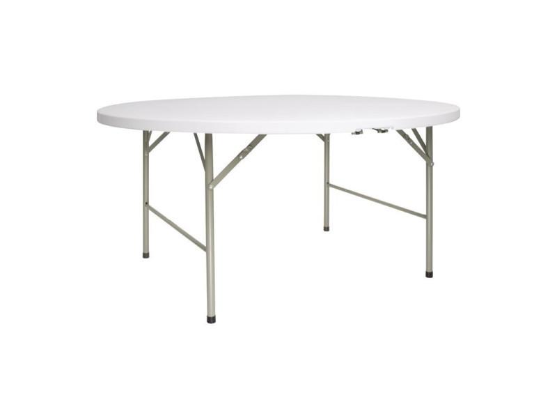 table ronde pliable au centre blanche 1530 mm bolero 153 cm 74 cm