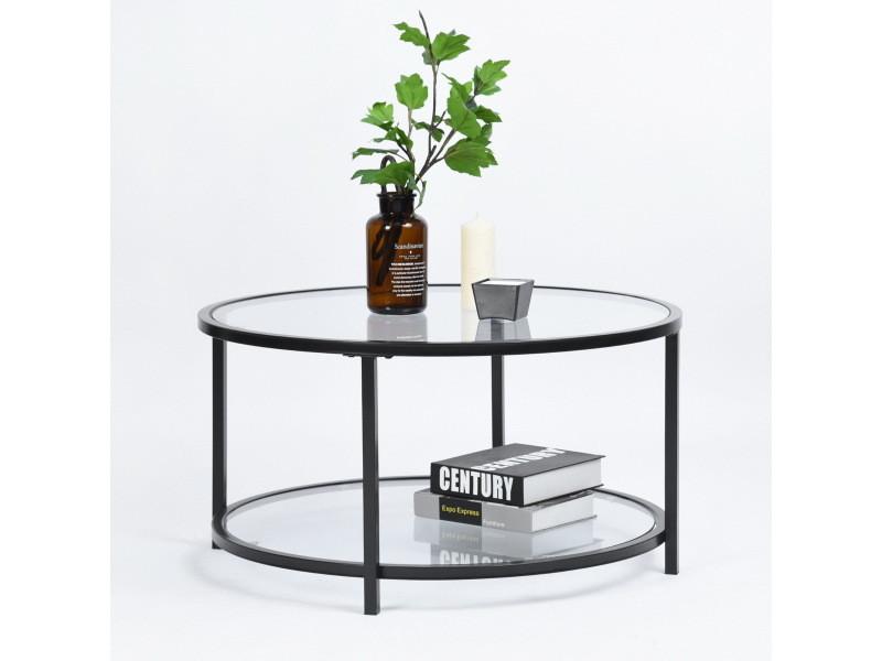 table basse ronde 2 couches verre metal noir