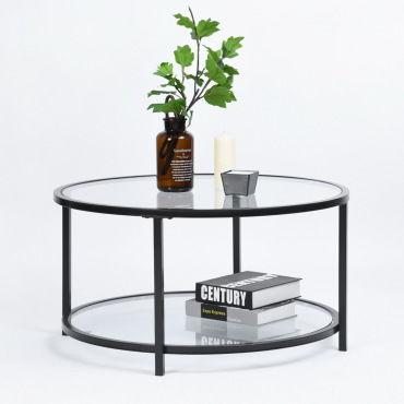 Table Basse Ronde 2 Couches Verre Metal Noir Vente De Furniturer Conforama